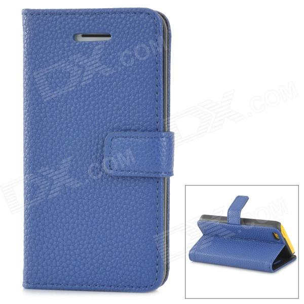 Lichee Pattern Protective PU Leather Case for Iphone 5C - Blue стоимость