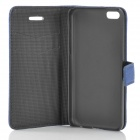 Lichee Pattern Protective PU Leather Case for Iphone 5C - Blue