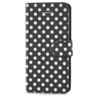 Protective Polka Dot Pattern PU Leather Case for Iphone 5C - Black + White