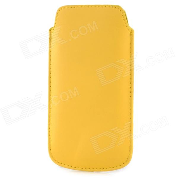 Protective PU Leather Case for Samsung i9190 Galaxy S4 Mini - Yellow