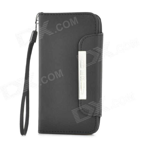 Protective PU Leather Flip Open Case for Iphone 5C - Black protective pu leather flip open case for iphone 4 4s black