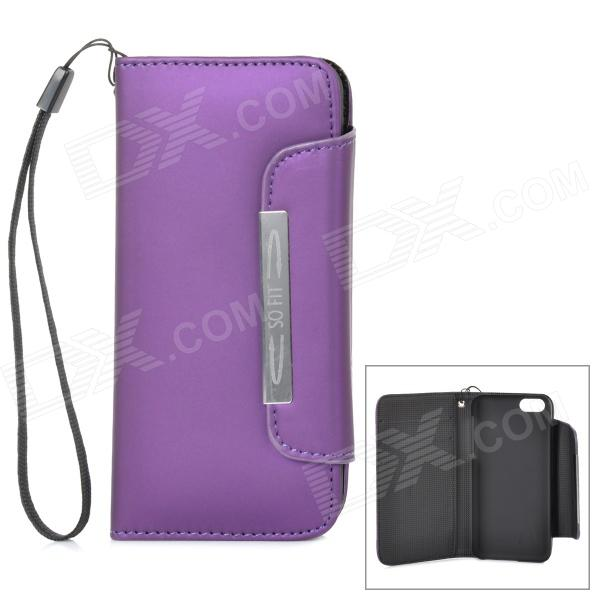 Protective PU Leather Case Cover w/ Card Slots / Strap for Iphone 5C - Purple glossy leather wallet stand cover with 5 card slots for iphone 7 4 7 white
