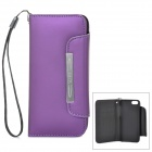 Protective PU Leather Case Cover w/ Card Slots / Strap for Iphone 5C - Purple
