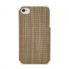 Knitting Style Protective PU Leather Back Case for Iphone 4 / 4S - Brown + White