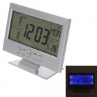 "Multifunction 5.7"" Voice Control Back-light LCD Clock w/ Calendar Temperature - Silver (2 x AAA)"