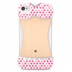 Dot Pattern Bikini Style Protective Plastic Back Case for Iphone 4 / 4S - Deep Pink