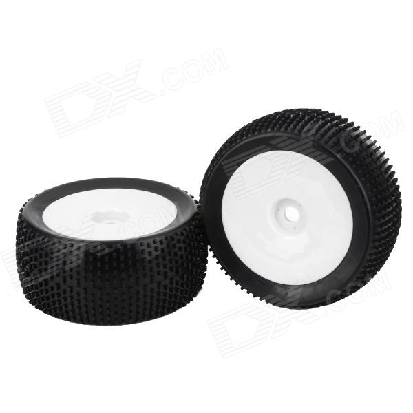 HD-W82 Replacement Universal Rubber + Plastic Wheel for 1:8 Truck - Black + White (2 PCS) 82r 801 replacement plastic rubber wheel for 1 8 scale off road cars black red 4 pcs