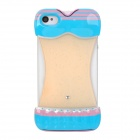 Bikini Style Protective Plastic Back Case for iPhone 4 / 4S - Blue + Pink