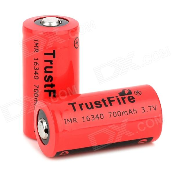 TrustFire IMR 3.7V 16340 700mAh Rechargeable Li-ion Battery (2 PCS) trustfire protected 10440 600mah 3 7v rechargeable li ion batteries 2 pack