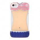 Dot Pattern Bikini Style Protective Plastic Back Case for Iphone 4 / 4S - Red + Blue + White
