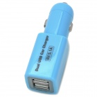 Dual-USB Car Cigarette Lighter Charger for Iphone / Samsung + More - Blue + Silver (DC 12~24V)