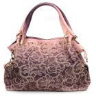 Fashion Hollow Out Flower Shoulder Hand Bag for Women - Pink