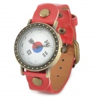 Korean Flag Pattern Round Dial PU Leather Band Wrist Watch - Red + White + Bronze