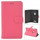 Lichee Pattern Protective PU Leather Case for Nokia 925 - Deep Pink