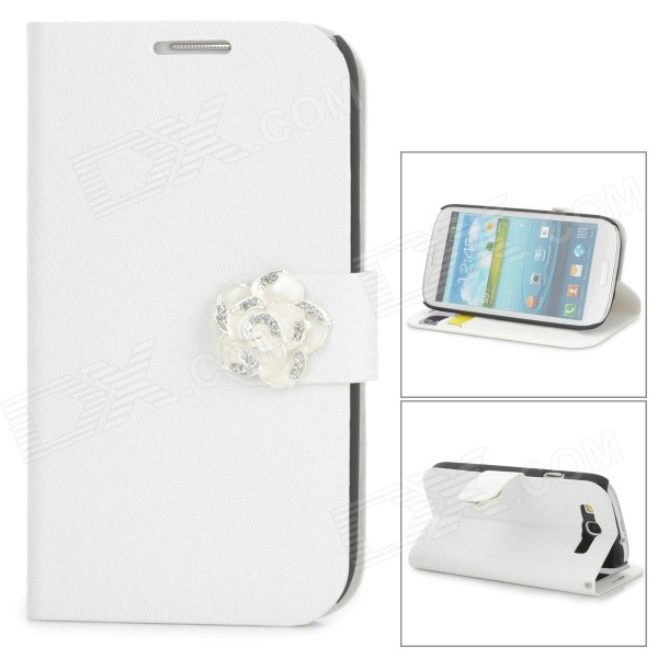 Protective PU Leather + Plastic Case w/ Holder / Card Slots for Samsung Galaxy S3 i9300 - White oracle style protective pu leather case w card holder slots for samsung galaxy note 3 white