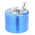 01 Aluminum Alloy Hand-Cranking Four-Layer Cigarette Tobacco Grinder - Blue + Silver