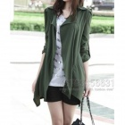 Causal Style Cotton Blended Fabrics Long Windbreaker - Army Green (XL)