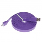 Universal Flat Micro USB Male to USB 2.0 Male Data Sync / Charging Cable - Purple (300cm)