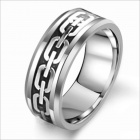 WJ189 Fashionable Cool Never Worn Tungsten Steel Men's Ring - Black + Silver (US Size 9)