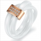 WJ193 Fashionable Elegant White Ceramic Finger Wrapped Ring - Silver (US Size 9)