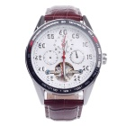 ORKINA MG053 Double-Sided Hollow Style Automatic Mechanical Men's Wrist Watch - Brown + White
