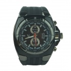 Stylish Men's Silicone Band Big Square Dial Quartz Analog Wrist Watch - Black  (1 x 377)
