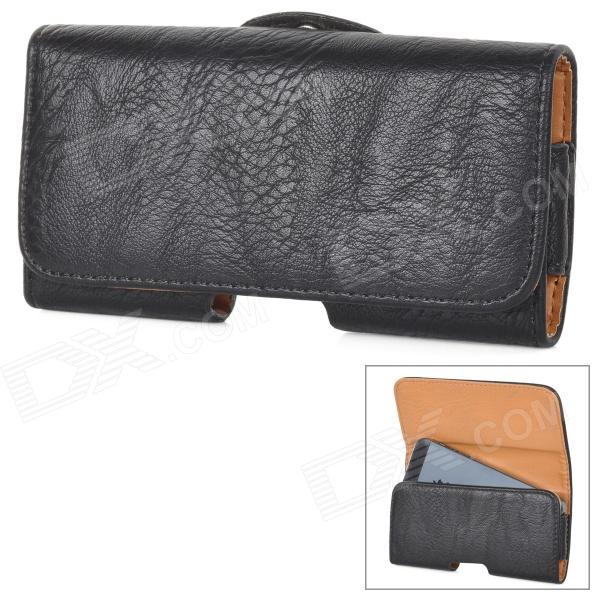 Horizontal Type Protective PU Leather Case Cover w/ Clip for Iphone 5 - Black