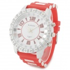 531 Fashion Round Dial Silicone Band Digital Watch - Red + Silver