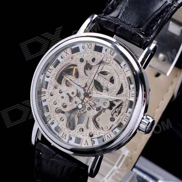 MCE 01-0060178 Fashion Leather Band Analog Semi-automatic Mechanical Wrist Watch - Silver