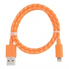 Nylon Housing USB Male to Lightning Data Sync & Charging Flat Cable for iPhone 5 - Orange + White
