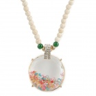 Fashion Ceramics Long Necklace w/ Shining Crystal Pendant - Beige + Golden
