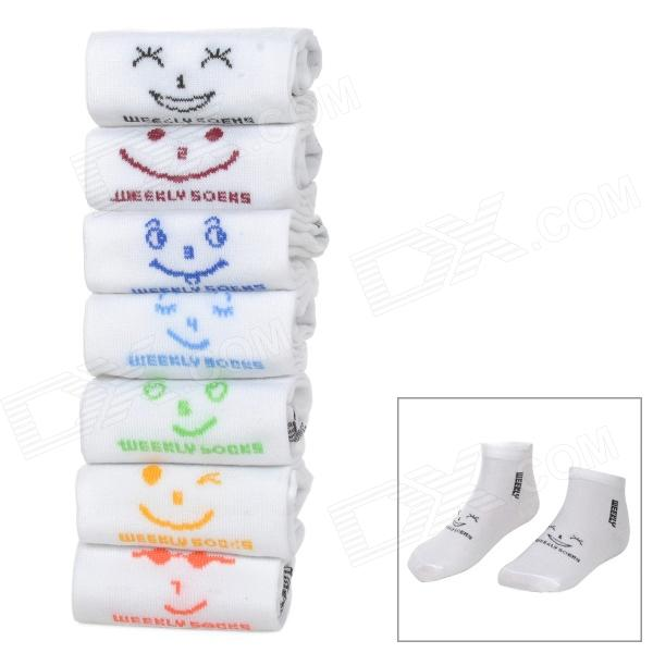 Cute Style Days Of The Week Cotton Socks for Women - White