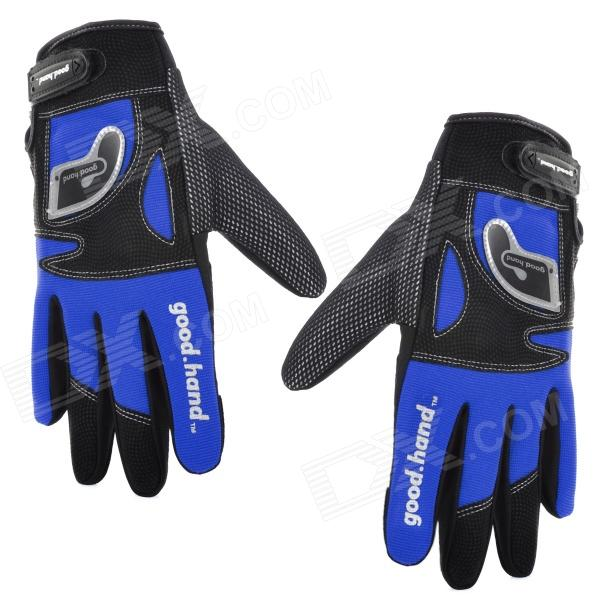 Good Hand Cycling Bicycle Nylon Full Finger Glove - Blue + Black (Size XL) good hand full fingers cycling gloves black red pair size xl
