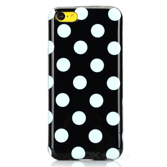 Stylish Polka Dot Pattern Protective TPU Back Case for Iphone 5C - Black + White handpainted cactus and polka dot printed pillow case
