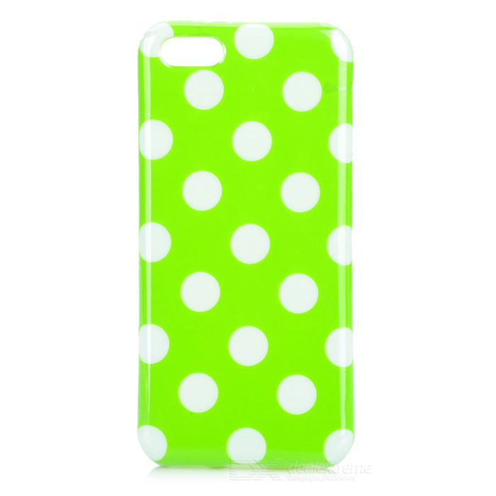 Stylish Polka Dot Pattern Protective TPU Back Case for Iphone 5 - Green + White holes pattern protective tpu back case for iphone 6 plus 5 5 yellow