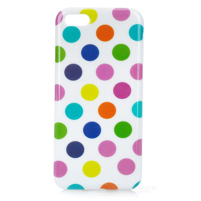 Colorful Dots Pattern Stylish TPU Back Case for Iphone 5C - White + Multicolored 2 pieces lot side brushes for chuwi v3 v3 v5 v5pro ilife v3 robot vacuum cleaner robotic vacuum cleaner for home