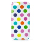 Colorful Dots Pattern Stylish TPU Back Case for Iphone 5C - White + Multicolored