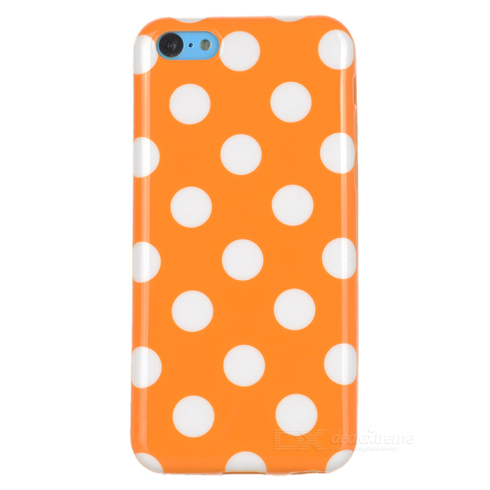 Stylish Polka Dot Pattern Protective TPU Back Case for Iphone 5C - Orange + White handpainted cactus and polka dot printed pillow case
