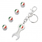 Italy National Flag Style Car Tire Valve Caps + Wrench Keychain Set - Silver