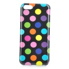 Colorful Dots Pattern Stylish TPU Back Case for Iphone 5C - Black + Multicolored