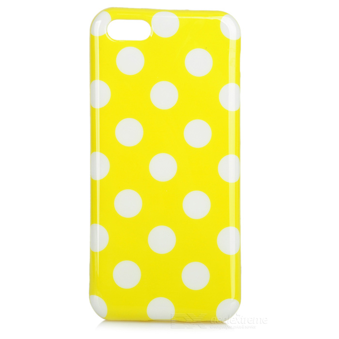 Dots Pattern Stylish TPU Back Case for Iphone 5C - Yellow + White cute owl pattern tpu back case for iphone 6 plus 5 5 yellow orange multi color