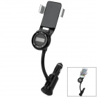 Rotatable car fm transmitter & dual-usb charger & mount holder for iphone / ipod / ipad - black