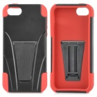 Protective Detachable Silicone + Plastic Back Case w/ Stand Holder for Iphone 5S - Black + Red
