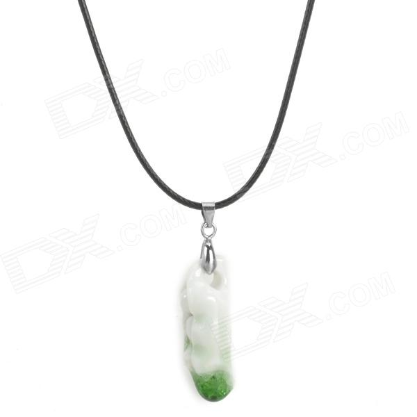 Cute Pea Ceramics Necklace for Women - White + Green cute beads cherry shape pendant necklace for women