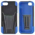 Convenient Protective Plastic + Silicone Back Case Set w/ Holder for Iphone 5S - Black + Blue