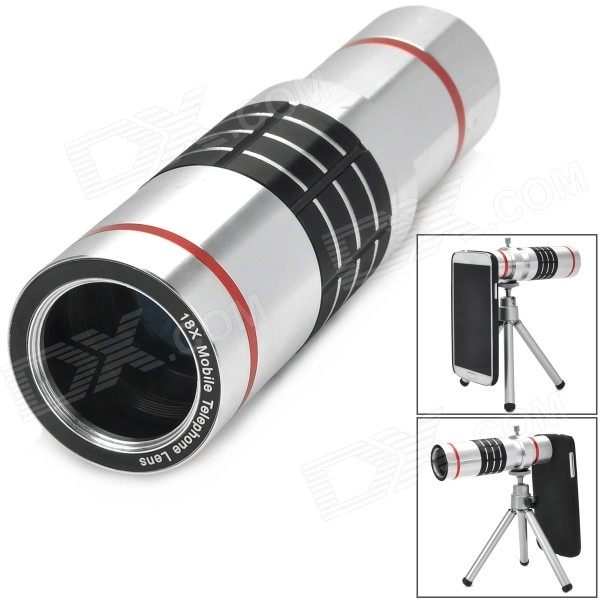 18X Camera Lens Telescope for Samsung i9500 - Silver + Red + Black aluminum alloy 20x telephoto lens w tripod case for samsung i9500