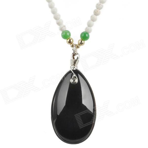 Agate Beads Long Necklace w/ Natural Stone Pendant - White + Black ball shape beads pendant necklace