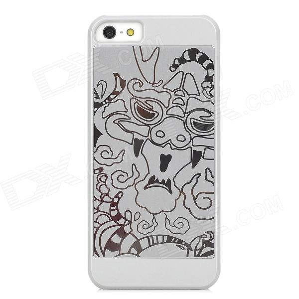 Neomemos Stylish Relievo Pattern PC + Stainless Steel Back Case for Iphone 5 - Silver + Silvery Gray