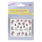 OC-09 Fashion Rose & Black Rabbit Nail Art Stickers Set - Black + Pink
