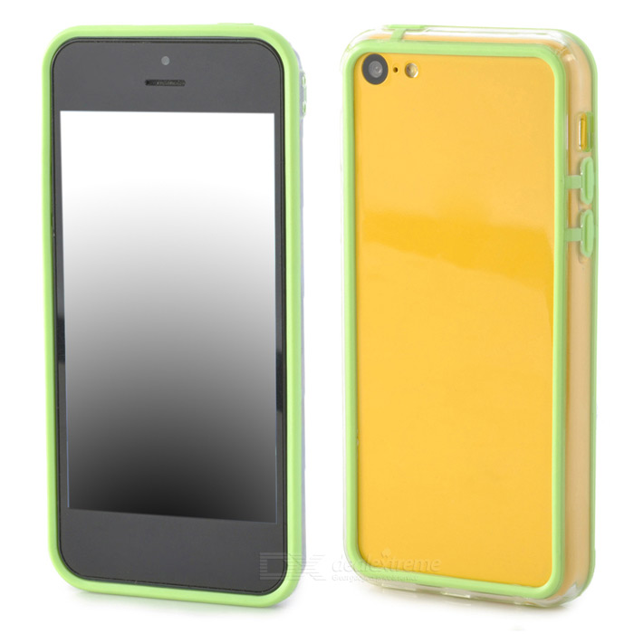 Ultrathin Protective PC + TPU Bumper Frame for Iphone 5C - Green + Transparent